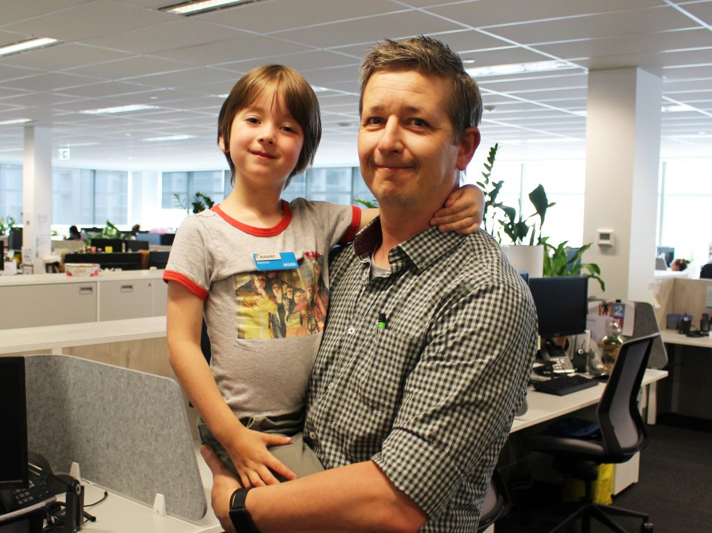 Photo of Adam and August hanging out in the MOIRA office